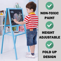 Kids Children Wooden Easel Art Whiteboard Blackboard Magnetic Drawing Board Stand - blue