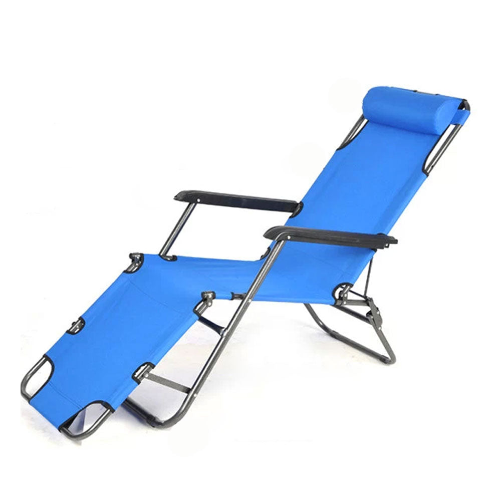 Reclining Sun Beach Deck Lounge Chair Outdoor Folding Camping Fishing Arm Rest - blue