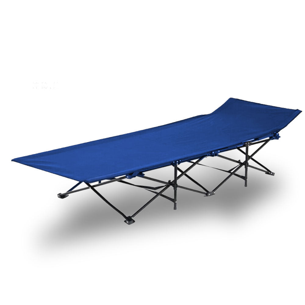 Camping Bed Folding Stretcher Light Weight with Carry Bag Camp Portable - blue