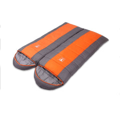 Double Camping Envelope Twin Sleeping Bag Thermal Tent Hiking Winter 0° C - orange