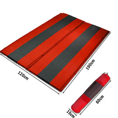 Double Self Inflating Mattress Sleeping Mat Air Bed Camping Hiking Joinable - red