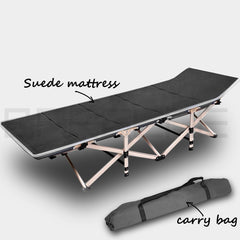 Camping Portable Stretcher Single Foldable Folding Bed Mattress Recliner Mat - grey