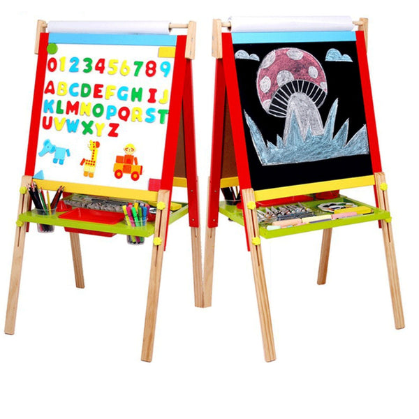 Kids Easel Art Children Whiteboard Blackboard Stand Wood Magnetic Drawing Board
