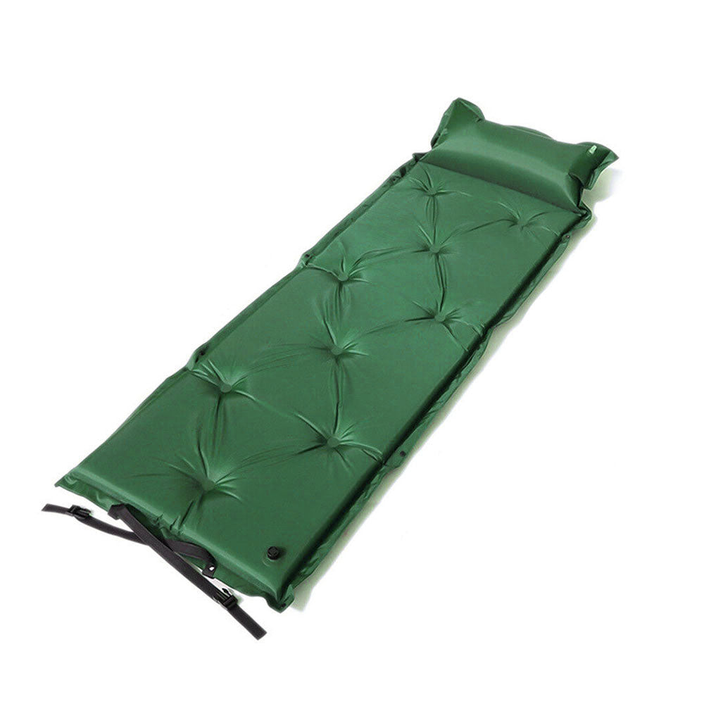 Self Inflating Mattress Camping Hiking Airbed Mat Sleeping with Pillow Bag Camp - green