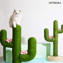 Vetreska Cat Kitten Oasis Cactus Scratcher Tree Cat Climbing Scratching Board Gym