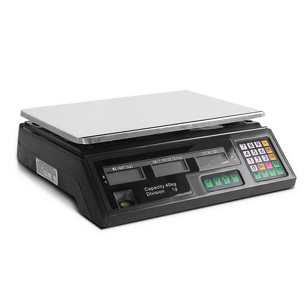 Electronic Digital Computing Price Weight Kitchen Postal Food Trade Scale 40KG - black