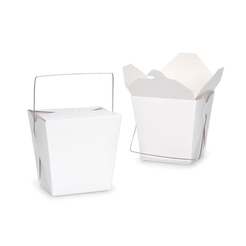 Bulk Packs 100 pcs White Noodle Box Pail With Metal Wire Handle
