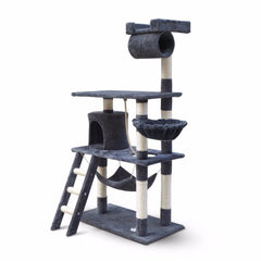 158cm Cat Tree Scratching Post Scratcher Pole Gym Toy House Furniture Multilevel - grey
