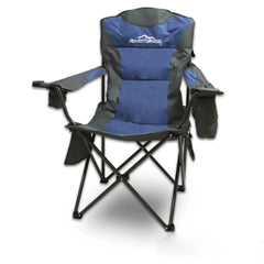 Foldable Folding Camping Chair Retreat Recliner Beach Outdoor Picnic Travel Camp - blue