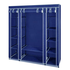 Large Space Storage Portable Bedroom Double Wardrobe Stable Easy Assemble - navy