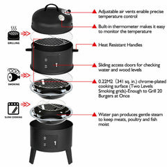NEW 3in1 Portable Charcoal Vertical Smoker BBQ Roaster Grill Steel Water Steamer
