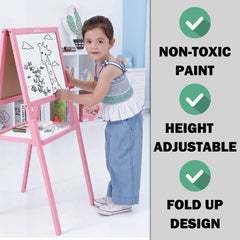Kids Children Wooden Easel Art Whiteboard Blackboard Magnetic Drawing Board Stand - pink