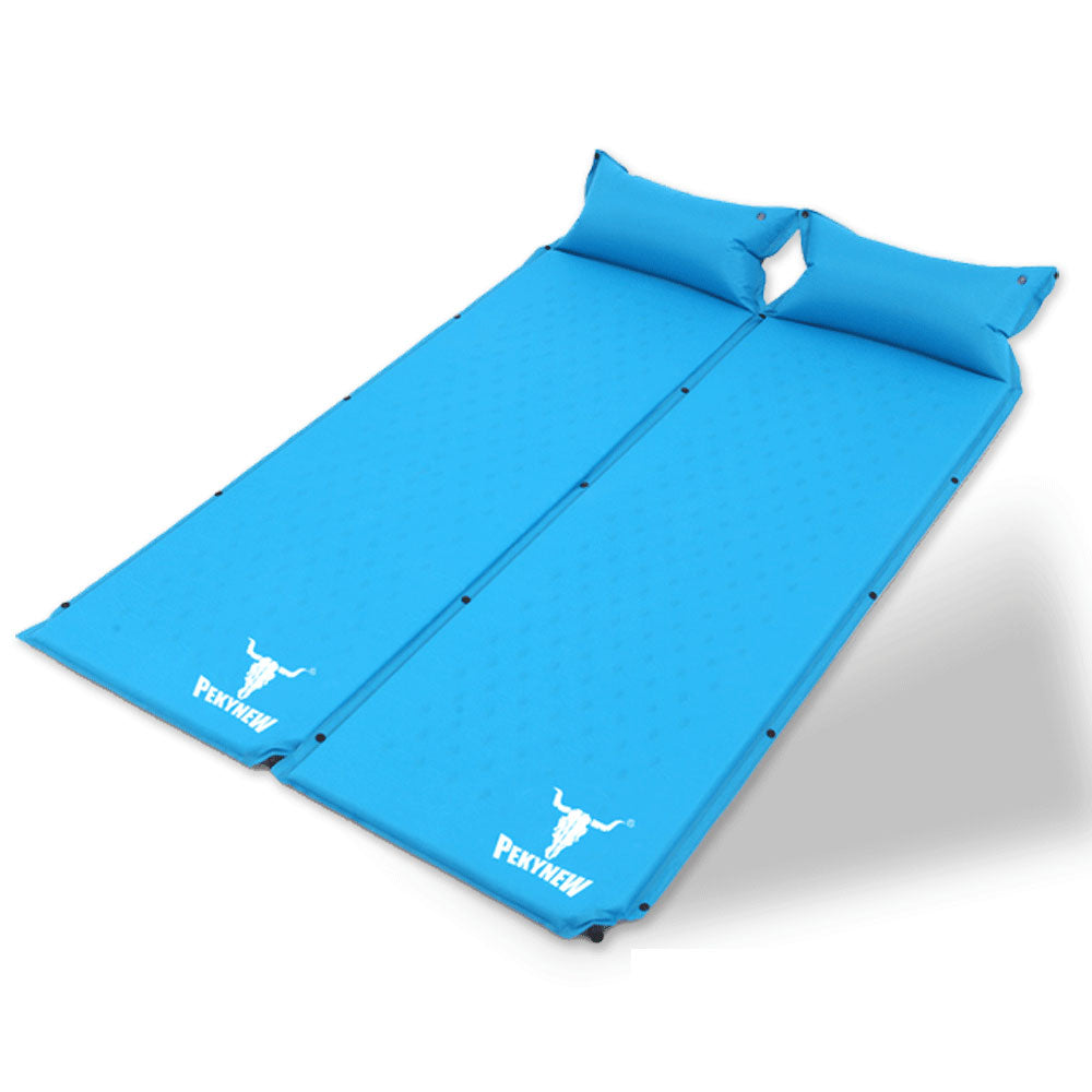 Double Air Bed Self Inflating Mattress Sleeping Mat Camping Camp Hiking Joinable - blue