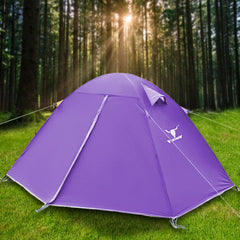 2 Person Man UV Protect Outdoor Ultra Lightweight Cycling Camping Waterproof Tent - purple