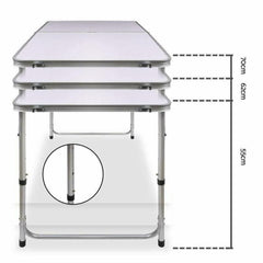 Portable Folding Picnic Camping Set BBQ Party Aluminium Table 4 Foldable Chairs