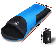 Outdoor Camping Envelope Sleeping Bag Thermal Tent Hiking Compact Single -10°C - blue