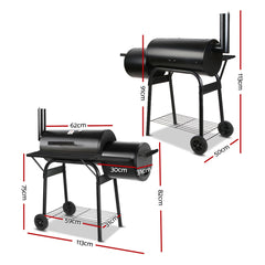 2 in1 BBQ Smoker Charcoal Grill Roaster Portable Offset Outdoor Camping Barbecue