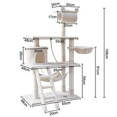 158cm Cat Tree Scratching Post Scratcher Pole Gym Toy House Furniture Multilevel - beige