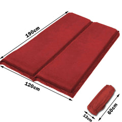 Double Self Inflating Mattress Sleeping Sedue Mat Air Bed Camping Camp Hiking Joinable - red