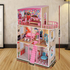 Large Wooden Girls Doll House 3 Level Kids Pretend Play Toys Furniture Dollhouse