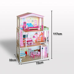 Large Wooden Dolls Doll House 3 Level Kids Pretend Play Toys Full Furniture