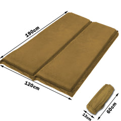 Double Self Inflating Mattress Sleeping Sedue Mat Air Bed Camping Camp Hiking Joinable - beige