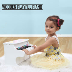 Kids Wooden Pretend Musical Toy Baby Children Grand Toy Mini 25 Keys Piano - white