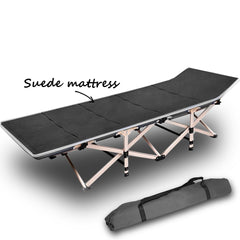 Camping Portable Stretcher Single Foldable Folding Bed Mattress Recliner Mat Grey