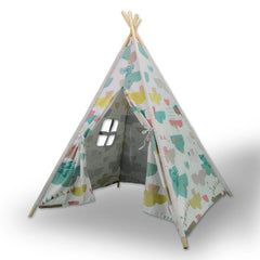 Giant Cotton Canvas Kids Teepee Children Pretend Play Tent Indoor Outdoor Party Cloud Pattern