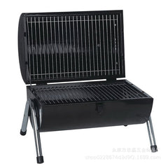 Stainless Steel BBQ Barrel Charcoal Smoker Portable Foldable Barbecue Camping Black
