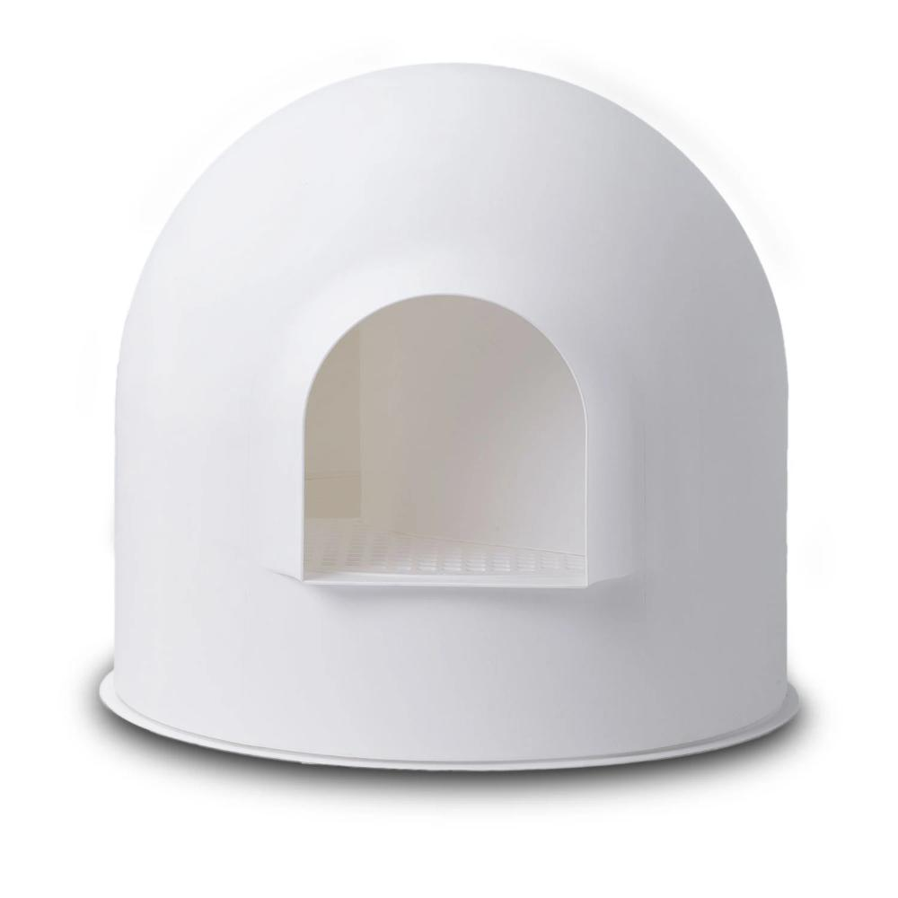 Pidan Igloo Snow House Portable Hooded Cat Toilet Litter Box Tray House w/ Scoop - white