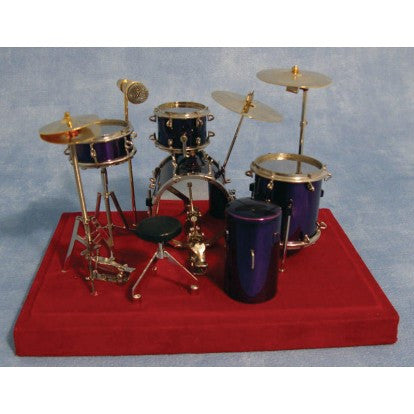 Dolls House Miniature Deluxe Full Drumset Purple, Music Room - The Dolls House Store