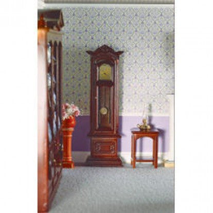 Dolls House Miniature Working Grandfather Clock Mahogany Finish, Clocks - The Dolls House Store