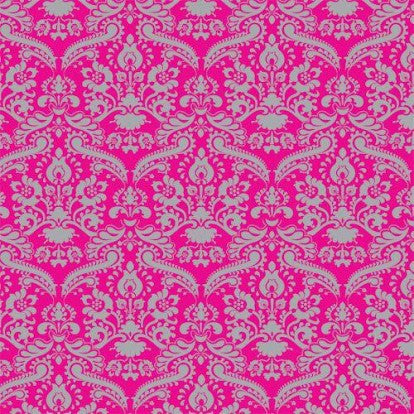 Bright Pink & Silver Damask Wallpaper