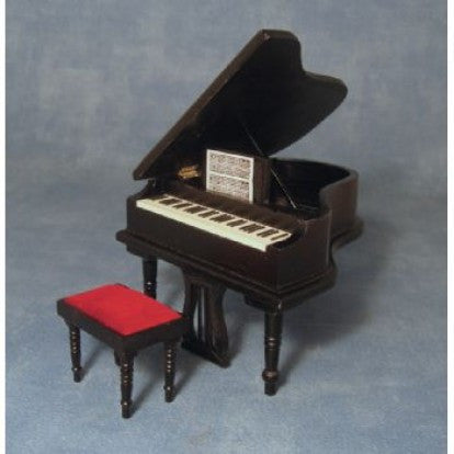 Dolls House Miniature Black Grand Piano and Stool, Music Room - The Dolls House Store