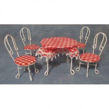 Dolls House Miniature White Wire Table With Table Cloth & Four Chairs, Diner and Cafe - The Dolls House Store