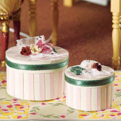 Luxury Pink Stripe Hat Boxes, 2 pcs