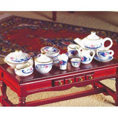 Pink & Blue Border Tea Set, 19 pcs