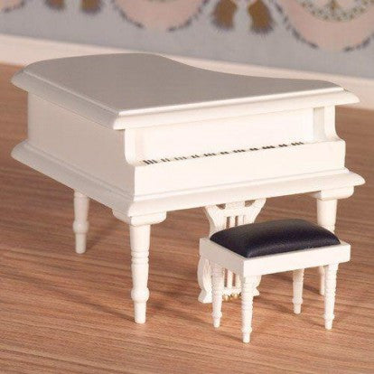 Dolls House Miniature Classical White Grand Piano & Stool, Music Room - The Dolls House Store