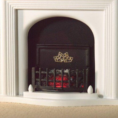 Dolls House Miniature Lit Fire Basket with Bulb 40mm, Fireside - The Dolls House Store