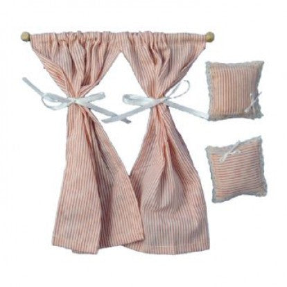 Dolls House Miniature Pink & White Curtains and 2 Pillows, Curtains - The Dolls House Store