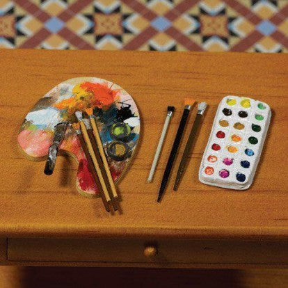 Dolls House Miniature Artists Palette, Brushes and Paints, 5 pcs, Accessories - The Dolls House Store