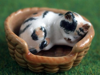 Dolls House Miniature Cat And Basket, DIY - The Dolls House Store
