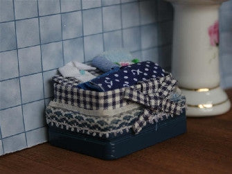 Dolls House Miniature Blue Ironing In Basket, Laundry - The Dolls House Store