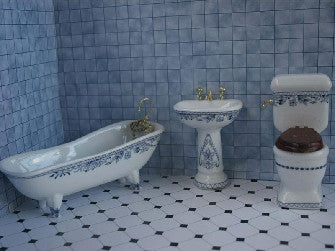 Dolls House Miniature Blue And White Bathroom Set - 4 pieces, Furniture Sets - The Dolls House Store