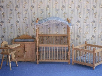 Dolls House Miniature Set Of 4 Gingham Nursery Blue, Nursery - The Dolls House Store