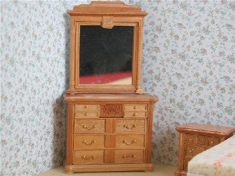 Dolls House Miniature Cherry Mirror And Chest, Bedroom - The Dolls House Store