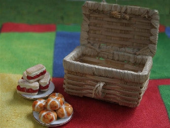 Dolls House Miniature Picnic Hamper Light Colour, Accessories - The Dolls House Store