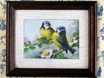 Dolls House Miniature Bird Picture - Brown Frame, Fireside - The Dolls House Store