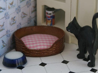 Dolls House Miniature Dog Basket Pink Check, Pets and Animals - The Dolls House Store